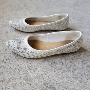 Dr. Scholl's perforated white flats